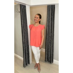 Lucy Cobb Frida Stripe Frill Sleeve Top in Coral