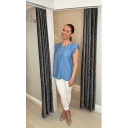 Lucy Cobb Frida Stripe Frill Sleeve Top in Denim Blue