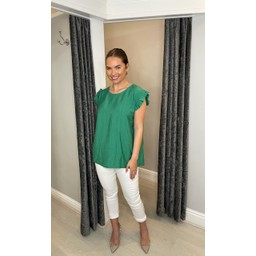 Lucy Cobb Frida Stripe Frill Sleeve Top in Green