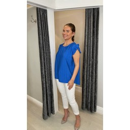 Lucy Cobb Frida Stripe Frill Sleeve Top in Royal