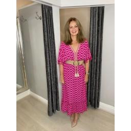 Lucy Cobb Maya Tassel Midi Dress in Fuchsia