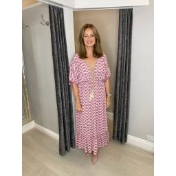 Lucy Cobb Maya Tassel Midi Dress in Rose