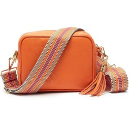 Elie Beaumont Leather Crossbody Bag in Orange with Aztec