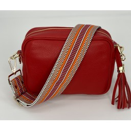 Elie Beaumont Leather Crossbody Bag in Red With Aztec