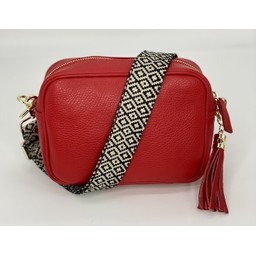 Elie Beaumont Leather Crossbody Bag in Red With Knitted Diamond