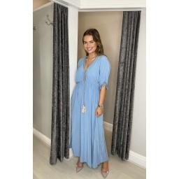 Lucy Cobb Maya Plain Tassel Dress in Pale Blue