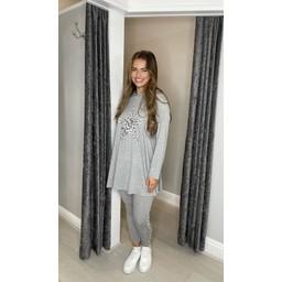 Malissa J Leopard Star Loungewear Set - Marl Grey