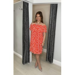 Lucy Cobb Bonnie Bardot Giraffe Print Dress  in Orange
