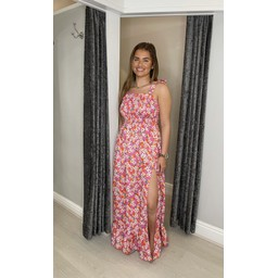 Lucy Cobb Jayda Printed Maxi Dress  - Tangerine