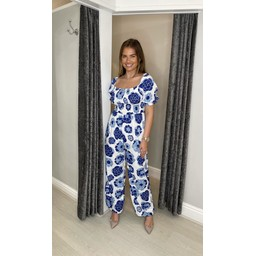 Lucy Cobb Jayda  Printed Jumpsuit  in Blue Mix