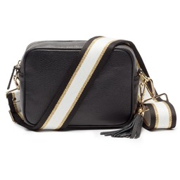 Elie Beaumont Leather Crossbody Bag in Black with Black Gold Stripe