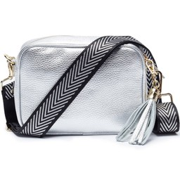 Elie Beaumont Leather Crossbody Bag - Silver With Silver Chevron