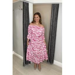 Lucy Cobb Gina Printed Bardot Dress - Pink