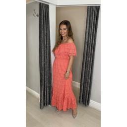 Lucy Cobb Laretta Lace Maxi Dress in Coral