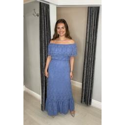 Lucy Cobb Laretta Lace Maxi Dress in Denim Blue