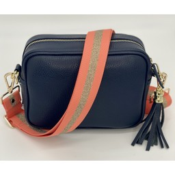 Elie Beaumont Leather Crossbody Bag in Navy With Peach Sparkle