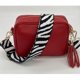 Elie Beaumont Leather Crossbody Bag in Red With Zebra