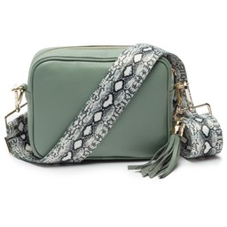 Elie Beaumont Leather Crossbody Bag in Mint with Python Strap
