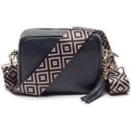 Elie Beaumont Leather Crossbody Bag in Navy With Diamond