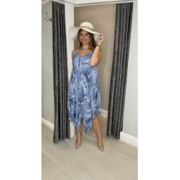 Lucy Cobb Fern Handkerchief Dress in Denim Blue