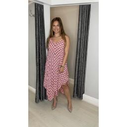 Lucy Cobb Giselle Geometric Handkerchief Dress - Peach