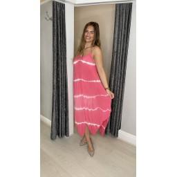 Lucy Cobb Talia Tye Dye Handkerchief Dress in Coral