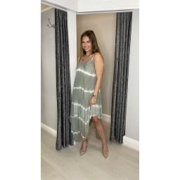 Lucy Cobb Talia Tye Dye Handkerchief Dress in Khaki