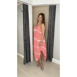 Lucy Cobb Talia Tye Dye Handkerchief Dress - Peach