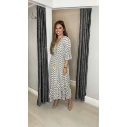 Lucy Cobb Maya Tassel Midi Dress - Taupe