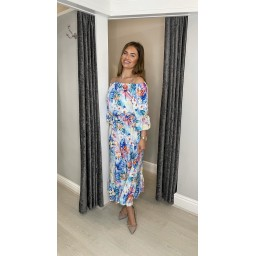 Lucy Cobb Gina Printed Bardot Dress in Floral