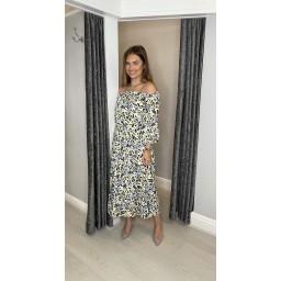 Lucy Cobb Gina Printed Bardot Dress - Animal Print