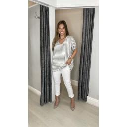 Lucy Cobb Sami Striped T Shirt  - Marl Grey