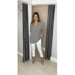 Lucy Cobb Sami Striped T Shirt  - Navy