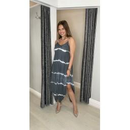 Lucy Cobb Talia Tye Dye Handkerchief Dress - Charcoal