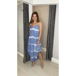 Lucy Cobb Talia Tye Dye Handkerchief Dress - Denim