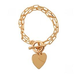 Lucy Cobb Jewellery Sweetheart Heart Multi-Row T-bar Bracelet in Gold