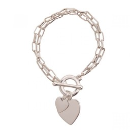 Lucy Cobb Jewellery Sweetheart Heart Multi-Row T-bar Bracelet - Silver