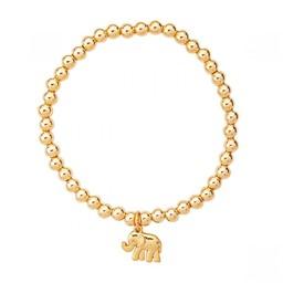 Lucy Cobb Jewellery Emily Rhodium Elephant Elasticated Bracelet in Gold