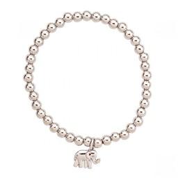 Lucy Cobb Jewellery Emily Rhodium Elephant Elasticated Bracelet - Silver