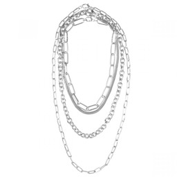 Lucy Cobb Jewellery Alesha Multi Chain-Link Short Necklace - Silver