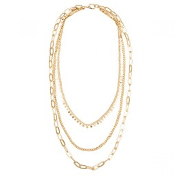 Lucy Cobb Jewellery Alesha Triple Chain-Link Short Necklace in Gold