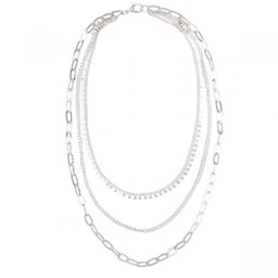 Lucy Cobb Jewellery Alesha Triple Chain-Link Short Necklace in Silver