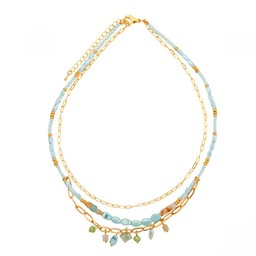 Lucy Cobb Jewellery Venus Natural Crystal Short Necklace - Turquoise