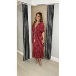 Lucy Cobb Maya Tassel Midi Dress in Deep Red