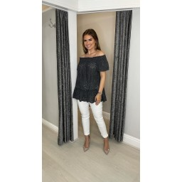Lucy Cobb Bernie Broderie Bardot Top in Charcoal