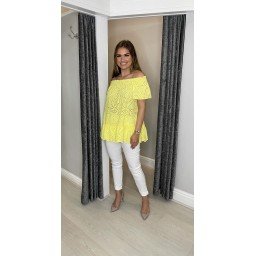 Lucy Cobb Bernie Broderie Bardot Top in Yellow