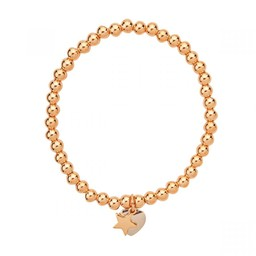 Lucy Cobb Jewellery Emily Gold Heart Star Elasticated Bracelet - Gold