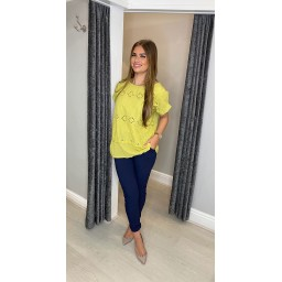 Lucy Cobb Billa Broderie Front Tee in Chartreuse