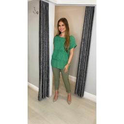 Lucy Cobb Billa Broderie Front Tee - Emerald Green