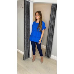 Lucy Cobb Billa Broderie Front Tee in Royal